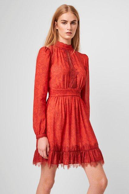 Dayo Drape Lace Print Dress