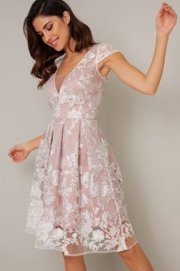 Chi Chi Aubrie Floral Embroidered Dress Pink White