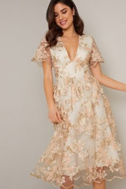 Chi Chi Floral Embroidered Betty Dress Nude Champagne