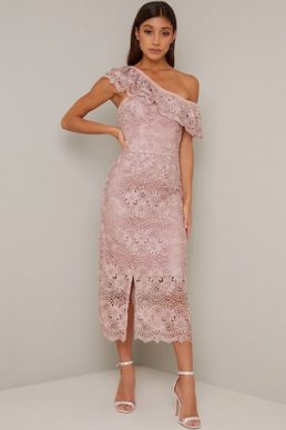 Chi Chi Kellen Lace One Shoulder Dress Mink Light Pink