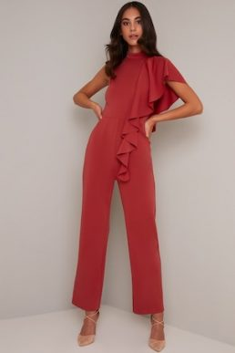 Chi Chi Lonie Waterfall Jumpsuit Orange