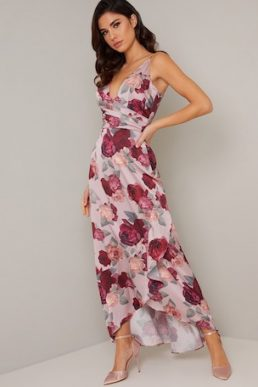 Chi Chi Mabel Floral Wrap Maxi Dress Pink Blush