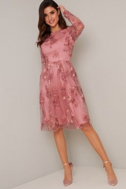 Chi Chi Vester Floral Embroidered Sleeve Dress Pink