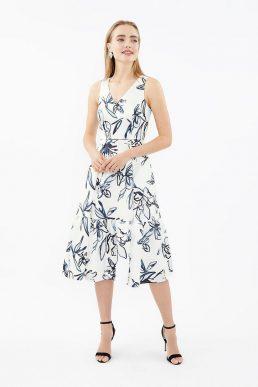 Coast V Neck Twill Print Dirndl Hem Dress Black White