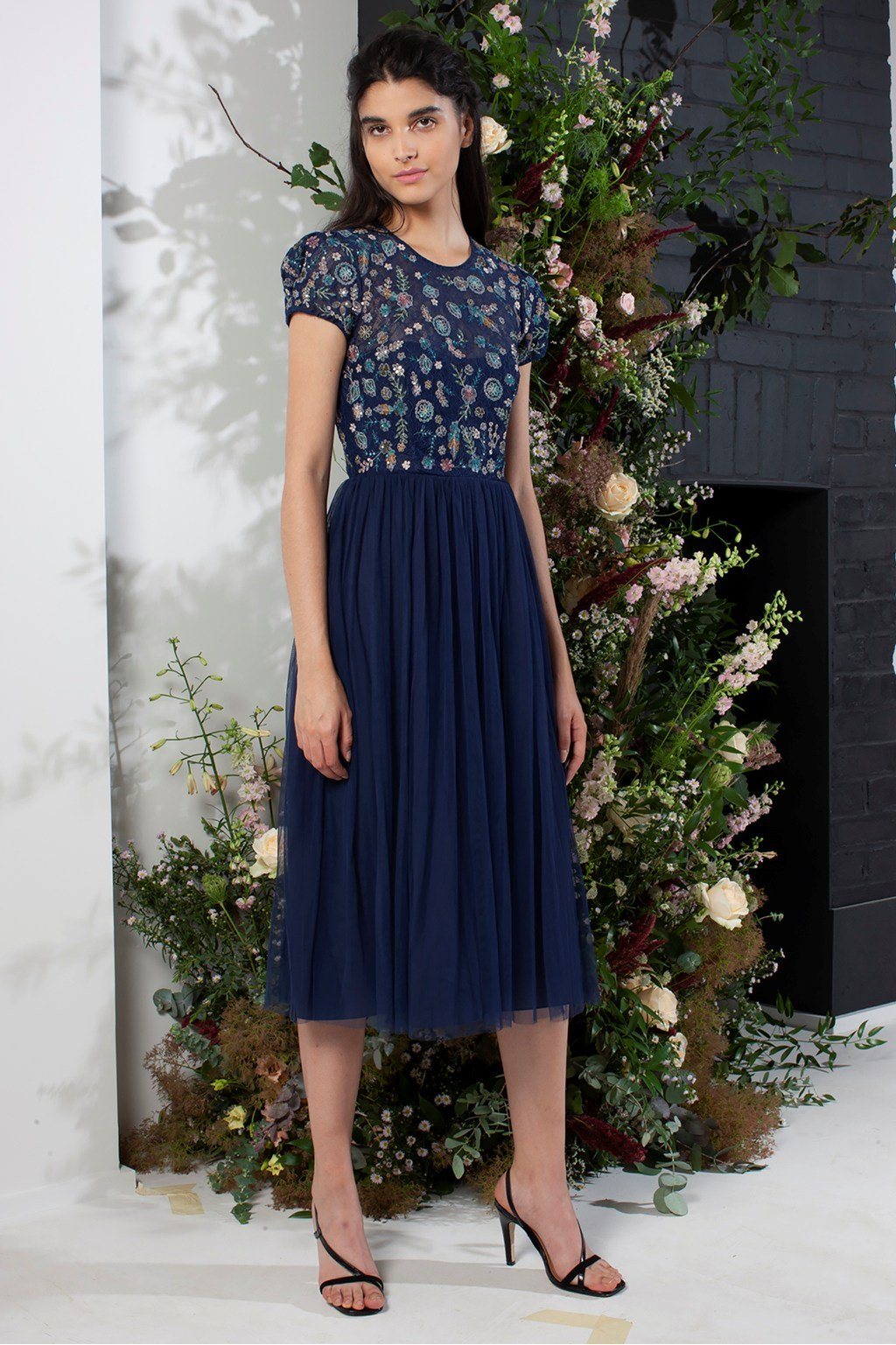 French Connection Diya Lace Mix Bridesmaid Dress Navy Blue