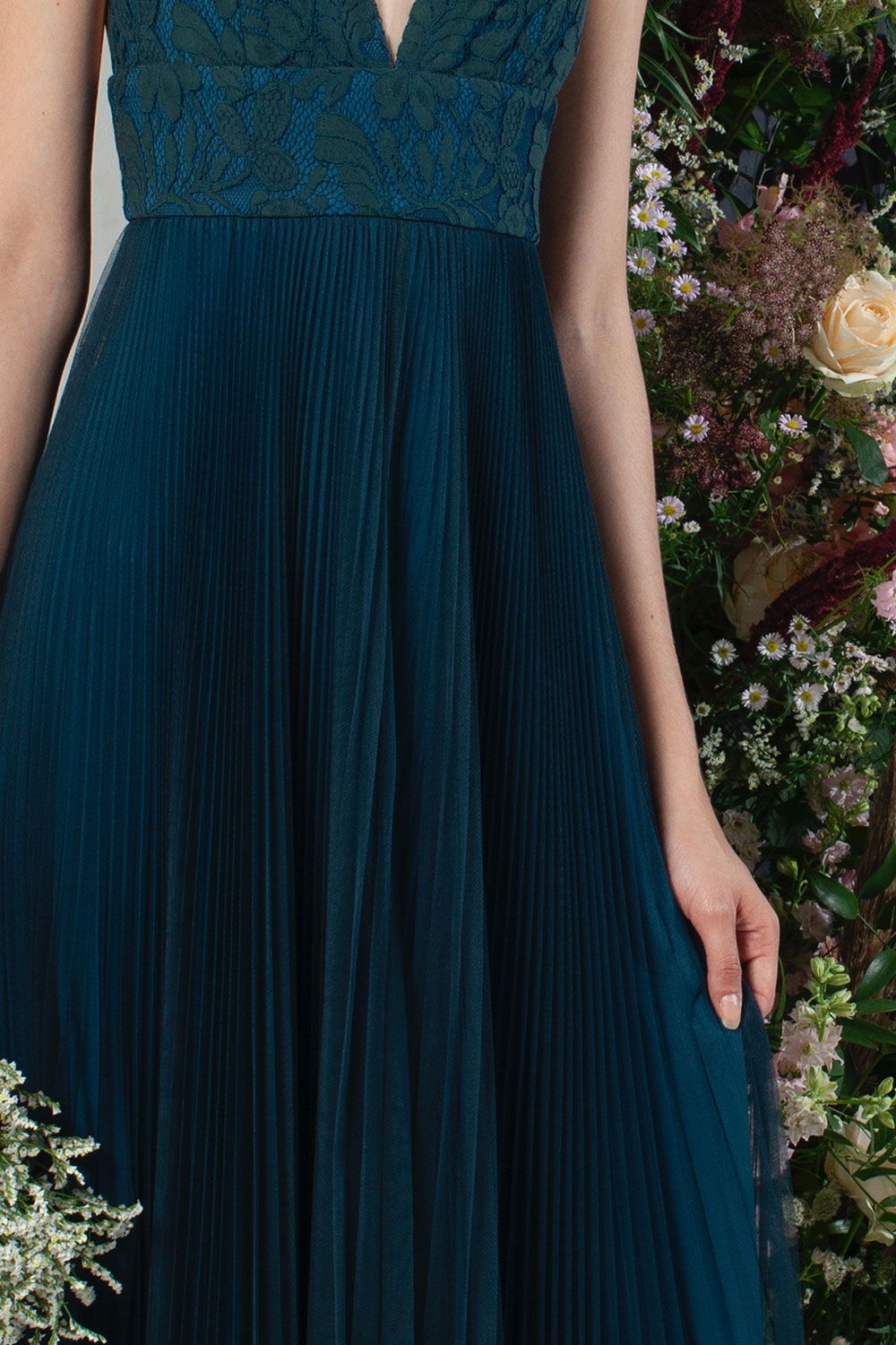 French Connection Farva Lace Mix Maxi Bridesmaid Dress Blue