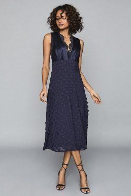 Reiss Leni Jacquard Spot Midi Dress Navy Blue