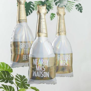 Gold Champagne Bottle Personalised Hen Party Balloon