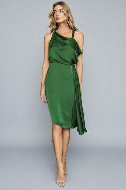 Reiss Aya Draped Satin Midi Shift Dress Green