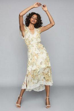 Reiss Emlin Floral Printed Midi Dress White Cream Yellow