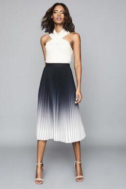Reiss Mila Ombre Pleated Midi Skirt Black Ecru White