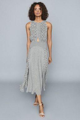 Reiss Alexandria Printed Midi Dress Black White