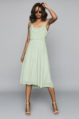 Reiss Thora Pleated Chiffon Dress Aqua Pale Green
