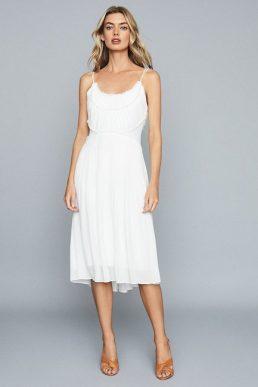 Reiss Thora Pleated Chiffon Dress White