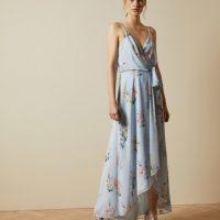 Ted Baker ARLISSA Sleeveless Elegant wrap dress Light Blue Multi