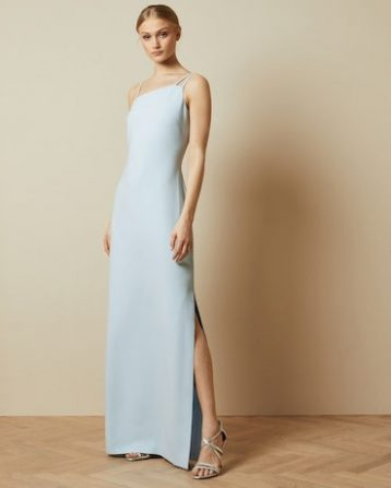 Ted Baker SANNSA Asymmetric strap maxi dress Pale Blue