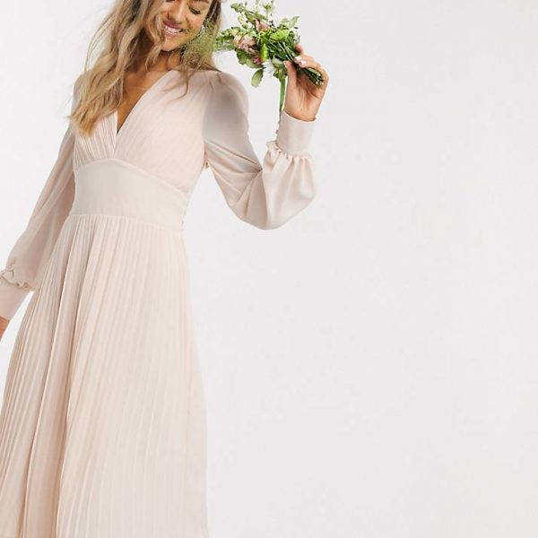 TFNC pleated maxi dress in ecru