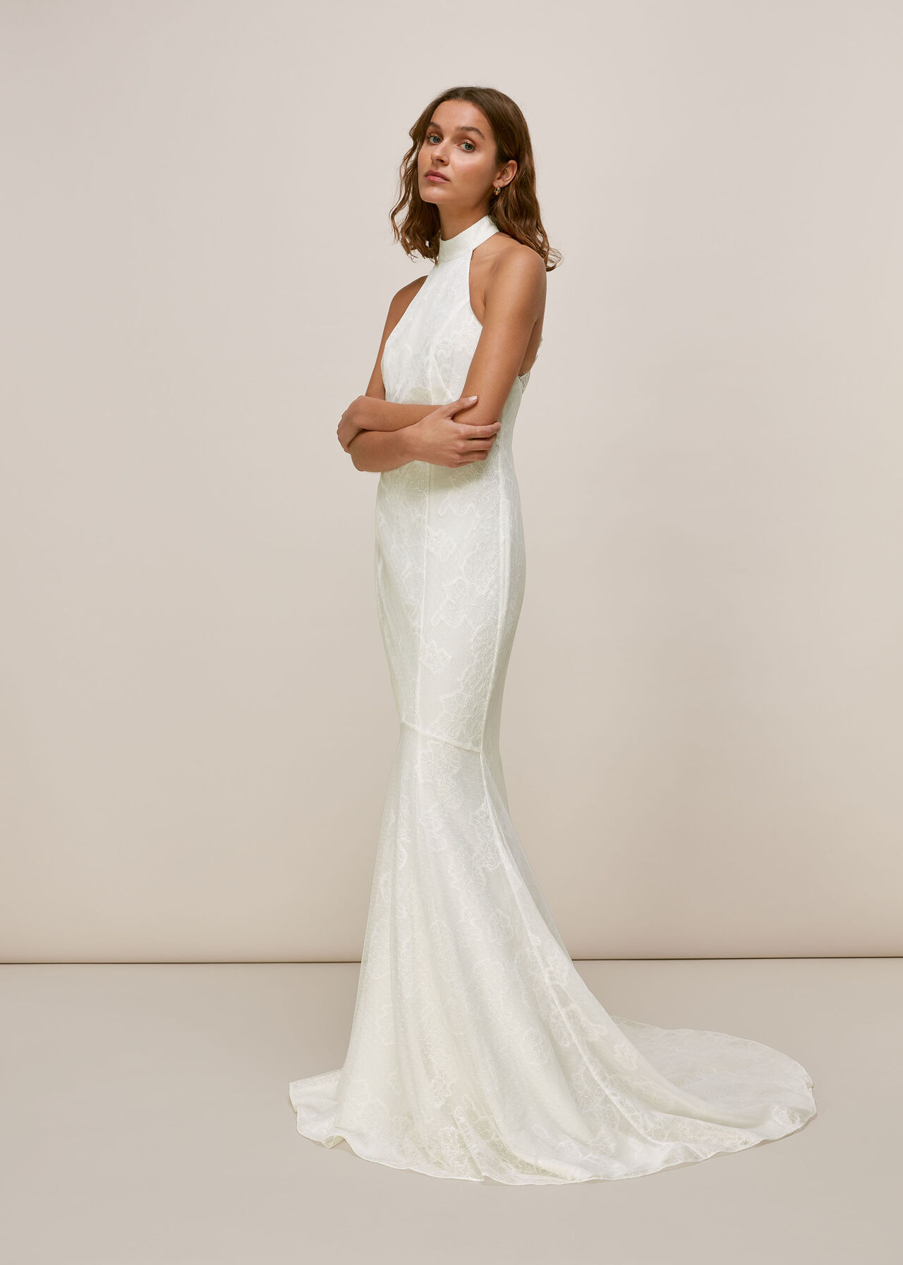 Whistles Maria Halter Lace Wedding Dress Ivory