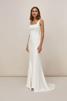 Whistles Mia Square Neck Wedding Dress Ivory