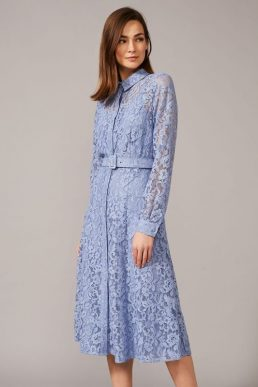 Phase Eight Autumn Lace Belted Dress, Blue