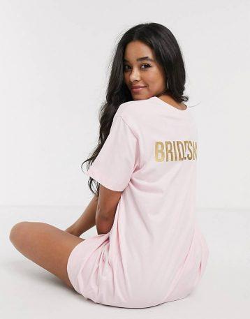 ASOS DESIGN bridesmaid sleep tee Pink Gold
