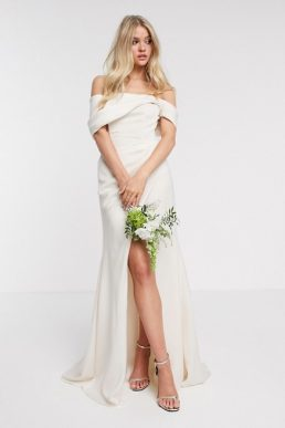 ASOS EDITION bardot drape wrap wedding dress Ivory Soft Apricot