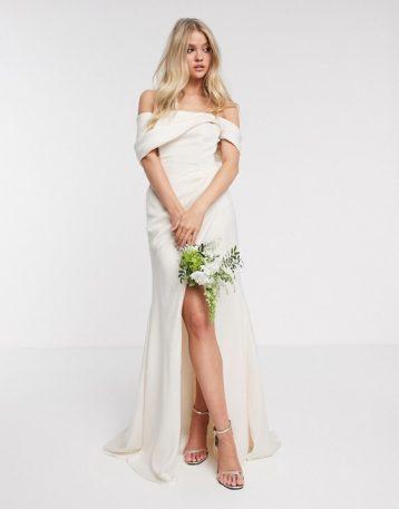 ASOS EDITION bardot drape wrap wedding dress Ivory Soft Apricot