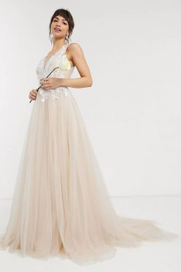 ASOS EDITION mesh wedding dress with embroidered bodice, White Cappuccino Blush Pink