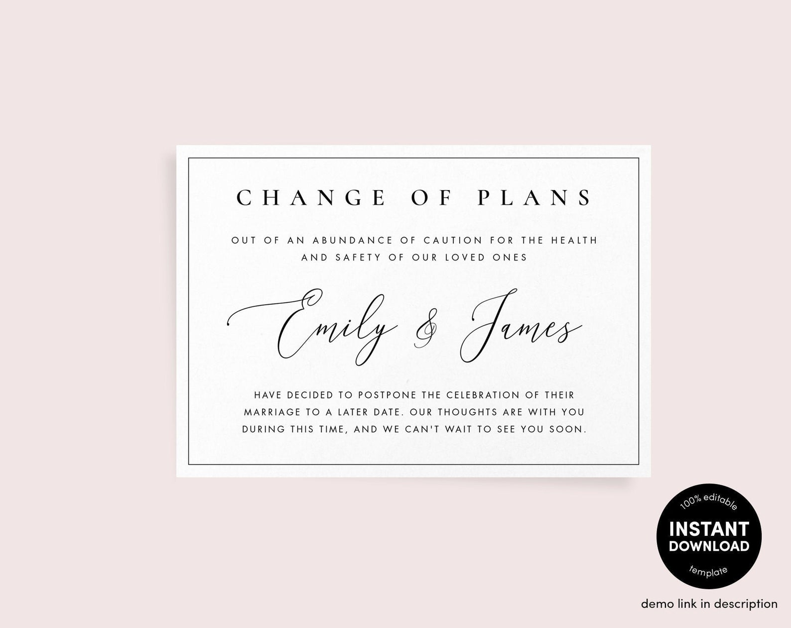 Change of Plans Announcement Template • Black and White Wedding Postponed Reschedule Download | Minimal Template | Corjl Instant Printable