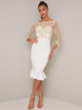 Chi Chi Agarpe Lace Peplum Dress Cream White