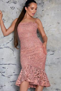 Chi Chi Constantia Lace Peplum Dress Pale Pink Blush