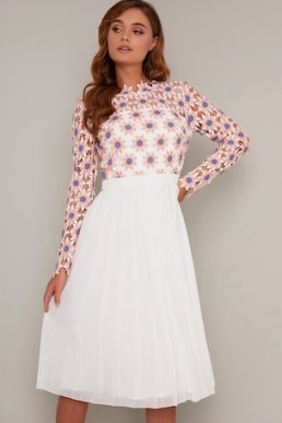 Chi Chi Ionie Sleeve Dres White Pink Multi