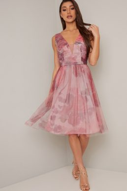 Chi Chi Narlee Floral Short Dress Pink Blush