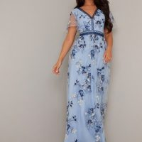 Chi Chi Shylah Floral Embroidered Maxi Dress Sky Blue Navy