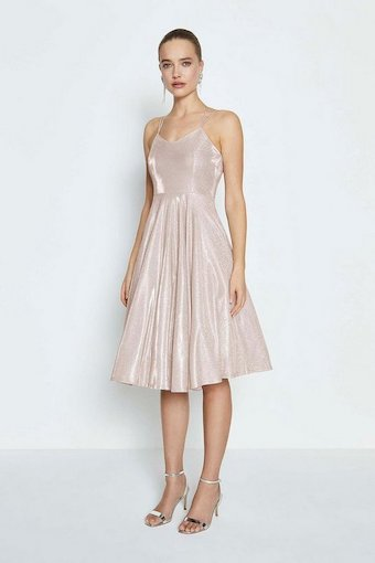 Coast Glitter Strap Back Short Dress Light Pink Blush