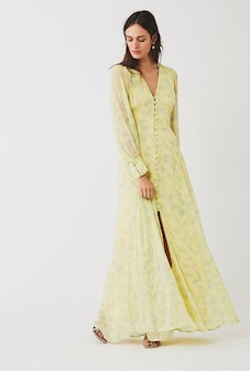 Ghost Eliza Floral Sleeve Maxi Bridesmaid Dress Micro Ditsy Yellow Multi