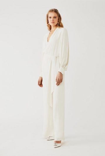 Ghost Olive Sleeve Wedding Jumpsuit Cloud Dancer Ivory