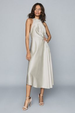 Reiss Rita Halterneck Satin Midi Dress Silver Grey Metallic