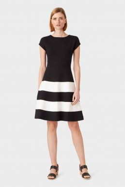 Hobbs Lizzie Stripe A-Line Dress Black White
