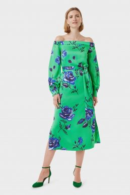Hobbs Miriam Bardot Floral Dress Green Blue