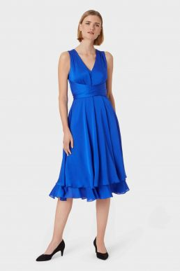 Hobbs Viola Midi Dress Cobalt Blue