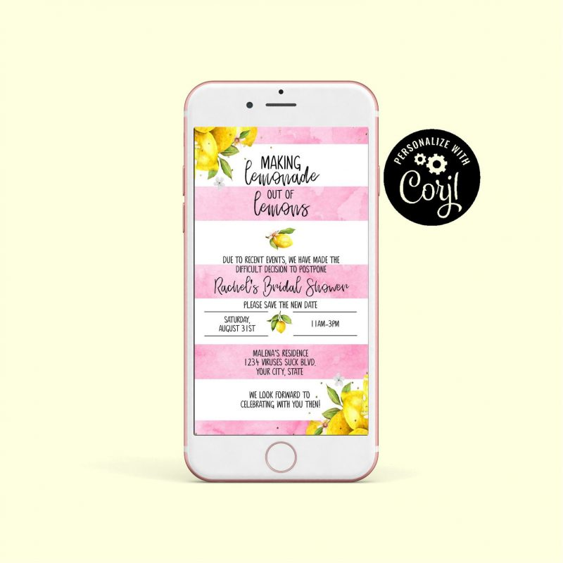 Lemon Postponed Announcement, Pink Lemon, Bridal Shower, Couples Shower, Wedding, Phone Announcement, Make Lemonade with Lemons, Digital