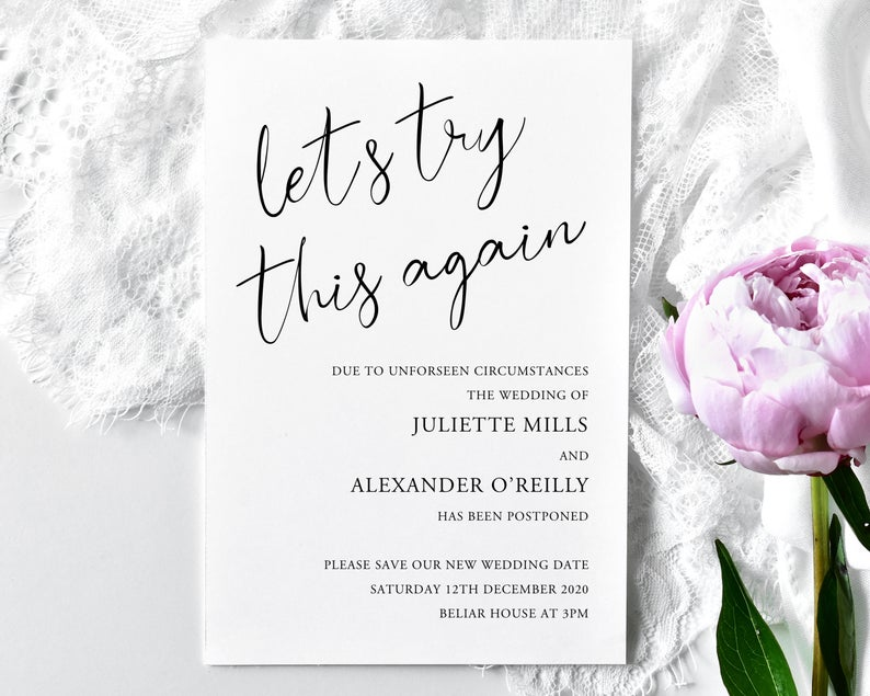 Lets try the again card - Wedding Postponed Card - Wedding Date Moved - Change of Plans Card - Change the Date Invite Cards