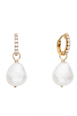 Lily & Roo Gold Huggie Pearl Drop Earrings