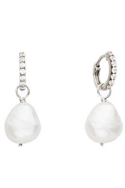 Lily & Roo Silver Huggie Pearl Drop Earrings