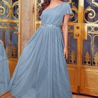 Little Mistress Sistaglam Mariah One Shoulder Sequin Belt Maxi Dress Blue