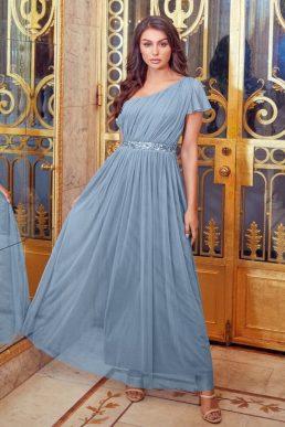 Little Mistress Sistaglam Mariah One Shoulder Sequin Belt Maxi Dress Blue