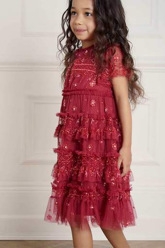 Needle & Thread Andromeda Kids Girls Dress Red