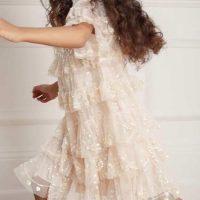 Needle & Thread Eloise Embroidered Kids Girls Dress Neutral