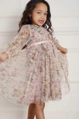 Needle & Thread Garland Flora Kids Girls Dress Blush Multi